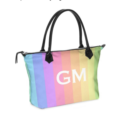 Personalised Luxury Tote Bag Handmade in Sumptuous Nappa Leather or Monroe Satin. Rainbow