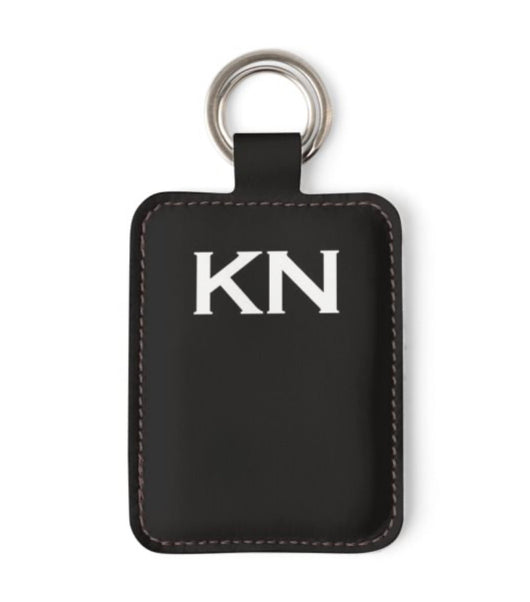 Personalised Luxury Nappa Leather Keyring. Black