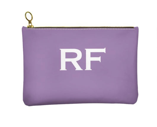 Personalised Genuine Nappa Leather Clutch - Cosmetic Bag in Lilac