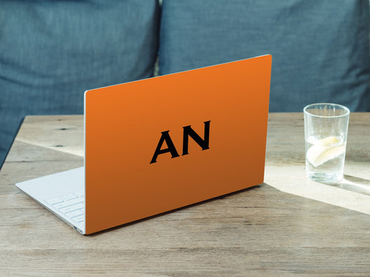 Personalised Hardshell MacBook Orange with White Initials or Name