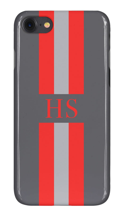 Charcoal Grey Initialed Case with Orange and Contrasting Grey Stripe