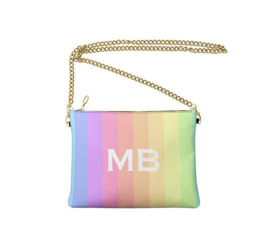 Personalised Luxury Nappa Leather Crossbody Bag Rainbow