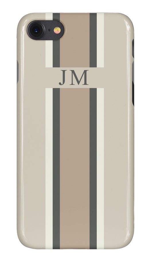Mellow Beige Initialed Case with Grey, White and Contrasting Beige Stripe