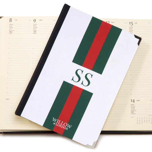 Personalised 2019 Diary Red and Green Striped with Initials Handbound in London