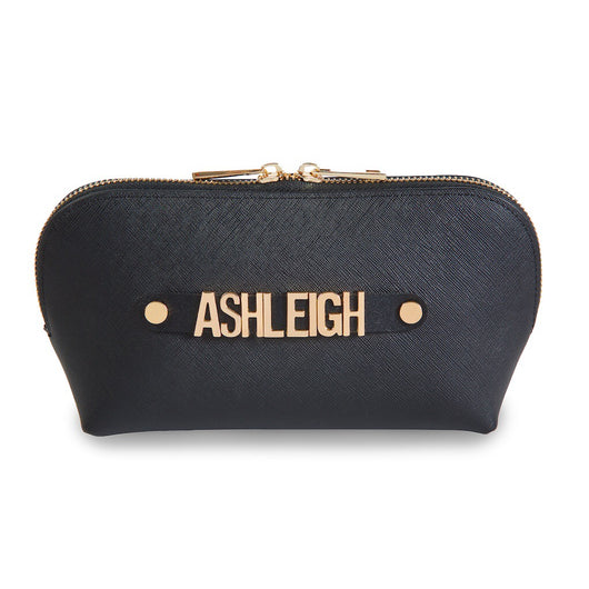 Saffiano Leather Cosmetic Bag with Leather Holding Strap and Metal Letter Personalisation