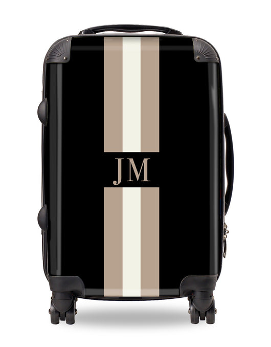 Personalised Suitcase Black with Beige and Fawn Stripes