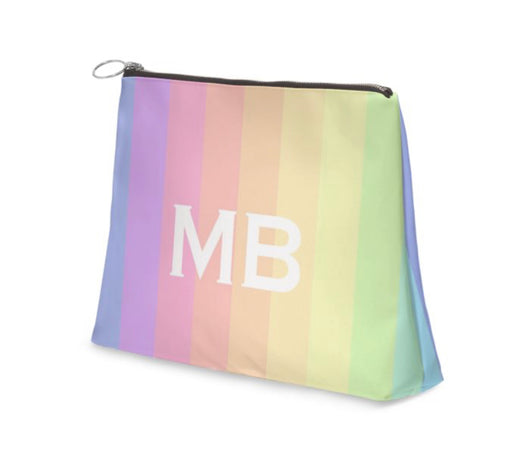 Superior Personalised Luxury Nappa Leather Clutch Bag Rainbow Striped