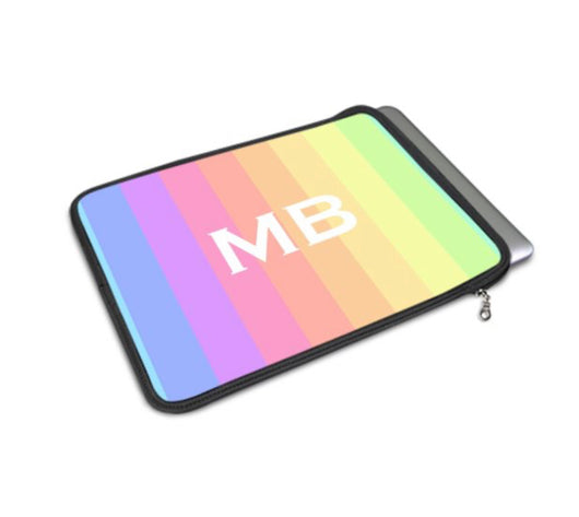 Personalised Luxury Macbook Pouch in Rainbow Design