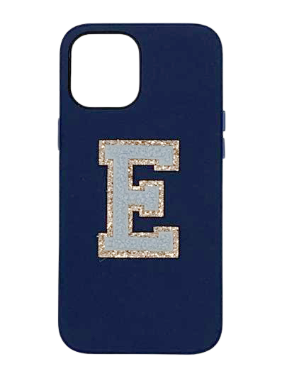 Personalised Navy Leather Phone Case with Sky Blue Chenille Initial