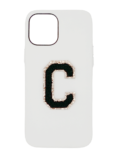 Personalised White Leather Phone Case with Black Chenille Initial