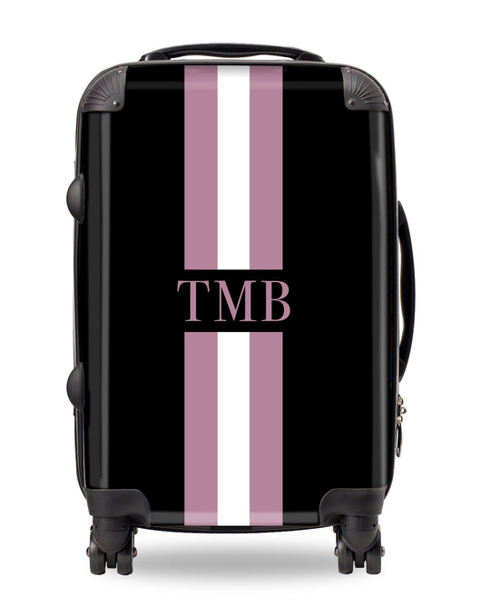 Personalised Suitcase Black with Purple and White Stripes