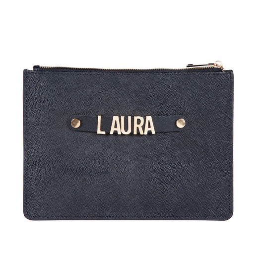 Saffiano Leather Clutch or Make Up Bag with Leather Holding Strap and Metal Letter Personalisation
