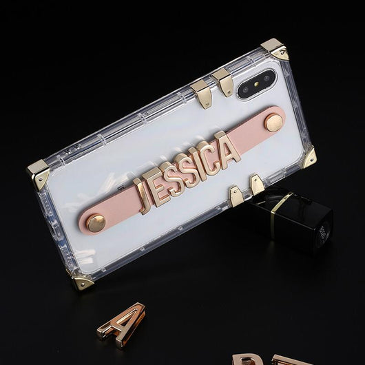 Translucent Trunk Case with Pink Leather Holding Strap and Gold Coloured Metal Personalisation