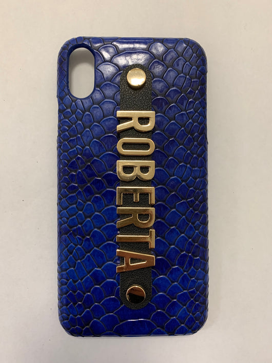 Blue Luxury Leather Snakeskin Effect Case with Holding Strap and Metal Personalisation