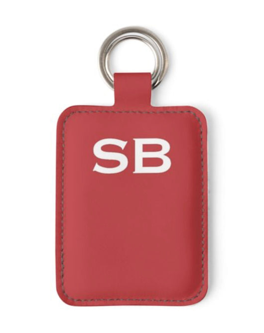 Personalised Luxury Nappa Leather Keyring. Red