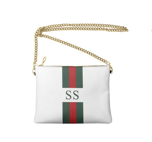 Personalised Luxury Nappa Leather Crossbody Bag White Striped