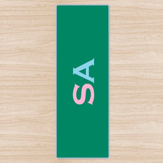 Personalised Yoga Mat Green with Pink and Sky Blue Side Initials