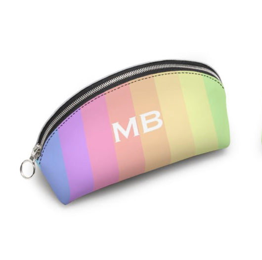 Personalised Genuine Luxury Nappa Leather Cosmetic Bag Rainbow