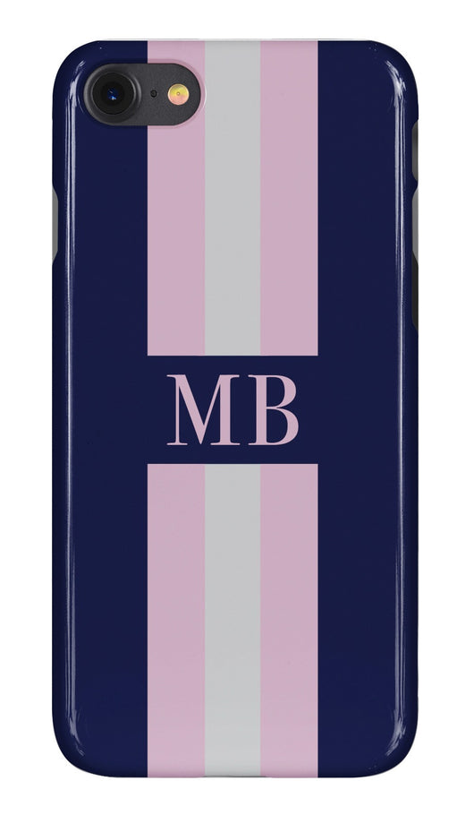 Navy Initialed Case with Pink and Pale Grey Stripe