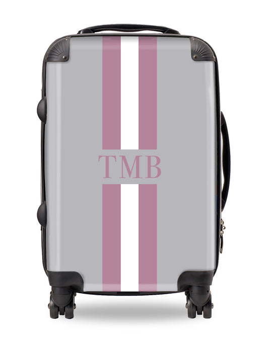 Personalised Suitcase Smoke Grey with Purple and White Stripes