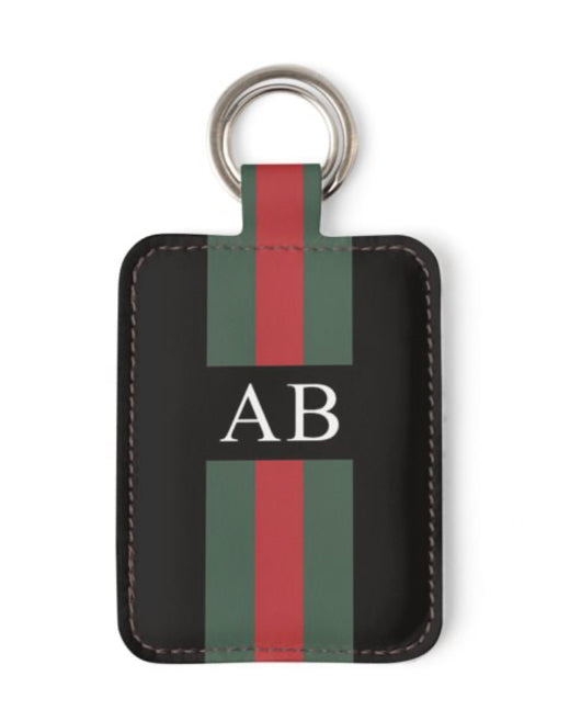 Personalised Luxury Nappa Leather Keyring. Black Striped