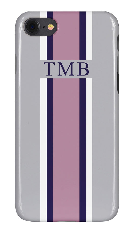 Smoke Grey Initialed Case with Pink, Navy and White Stripe