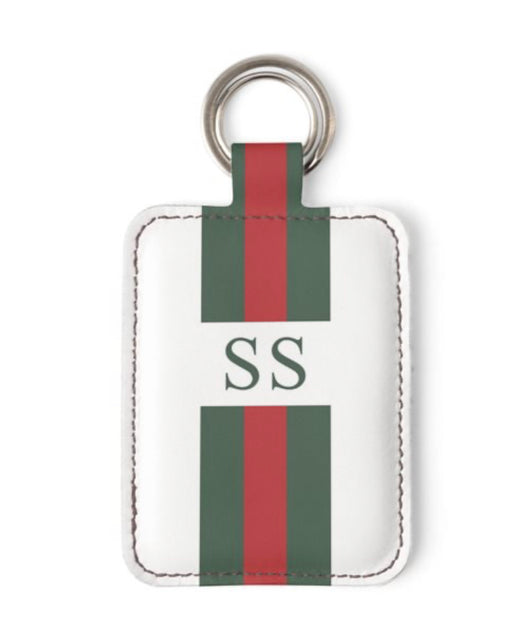 Personalised Luxury Nappa Leather Keyring. White Striped