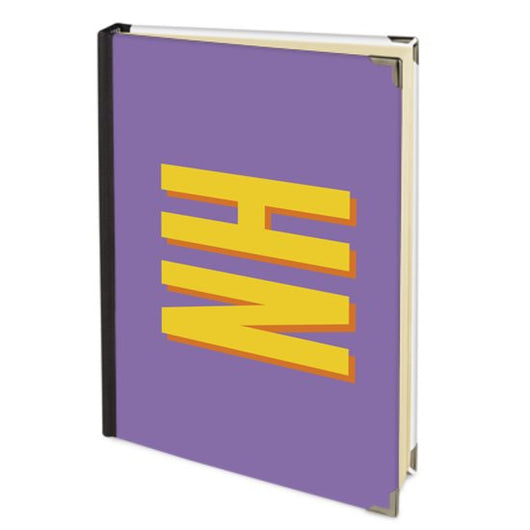 Personalised Satin Journal Purple with Yellow Side Initials Handbound In The UK