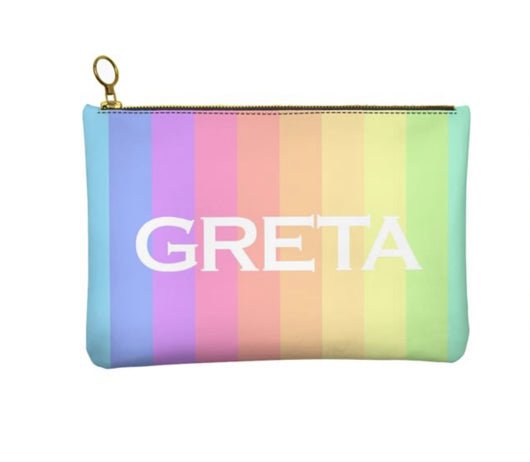 Personalised Genuine Nappa Leather Clutch - Cosmetic Bag in our Rainbow Design