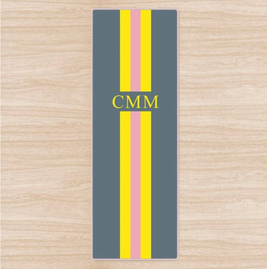 Personalised Yoga Mat Grey with Yellow and Pink Stripes and Initials Or Name