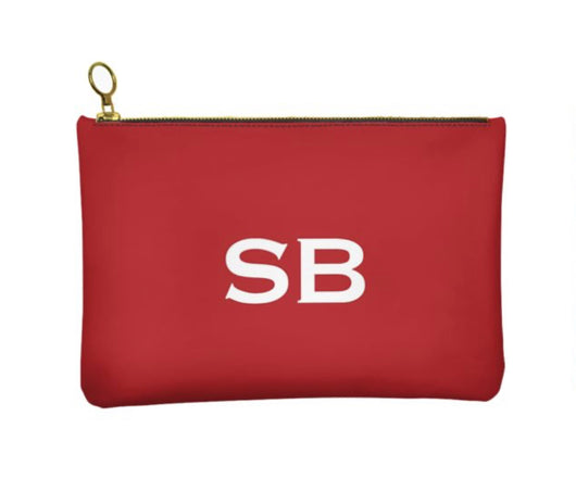 Personalised Genuine Nappa Leather Clutch - Cosmetic Bag in Red
