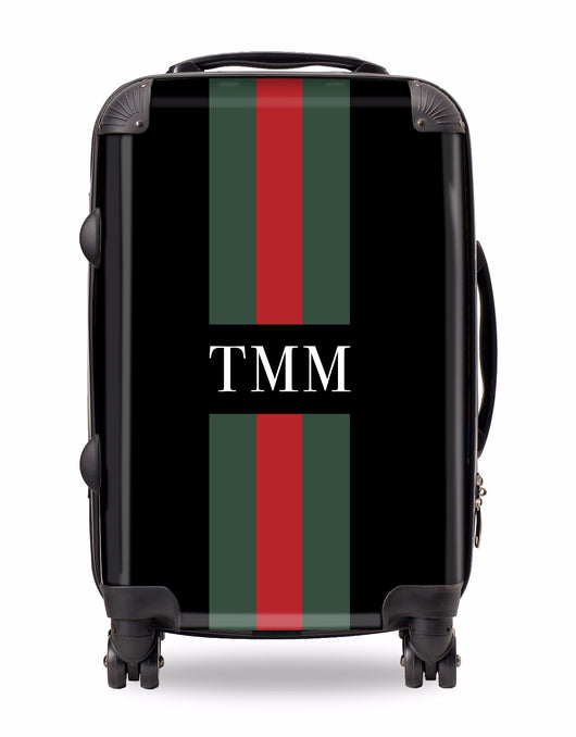 Personalised Suitcase Black with Red and Green Striped with Initials