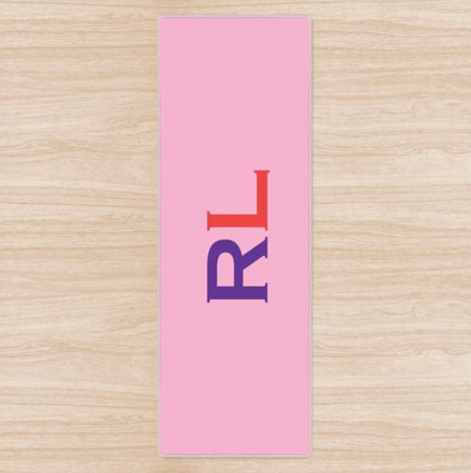 Personalised Yoga Mat Pink with Purple and Red Side Initials