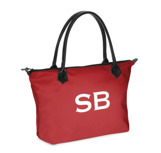Personalised Luxury Tote Bag Handmade in Sumptuous Nappa Leather or Monroe Satin. Red