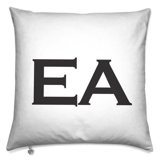 Personalised Cushion White with Black Initials Handmade In the  UK