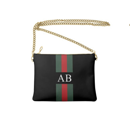 Personalised Luxury Nappa Leather Crossbody Bag Black Striped