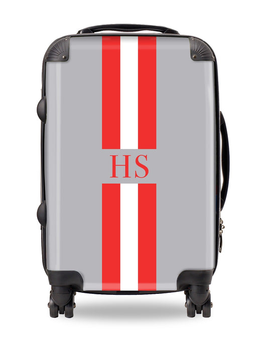 Personalised Suitcase Smoke Grey with Orange and White Stripes