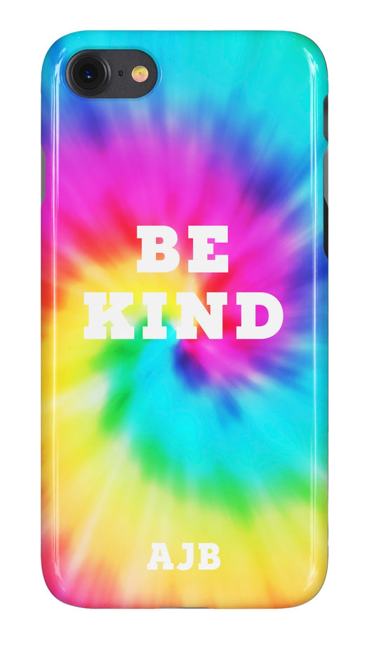 'Be Kind' Tie Dye Swirl Design Personalised Phone Case
