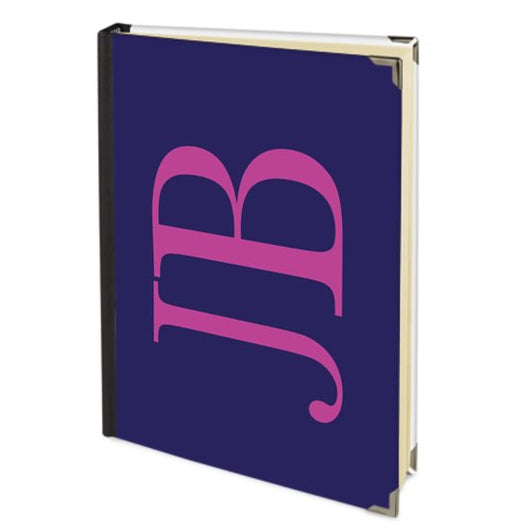 Personalised Satin Journal Navy with Hot Pink Side Initials Handbound In The UK