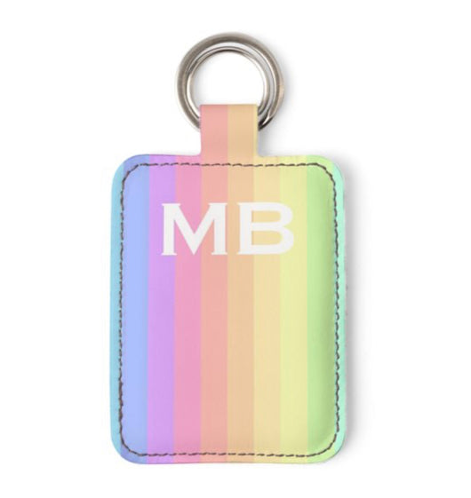 Personalised Luxury Nappa Leather Keyring. Rainbow