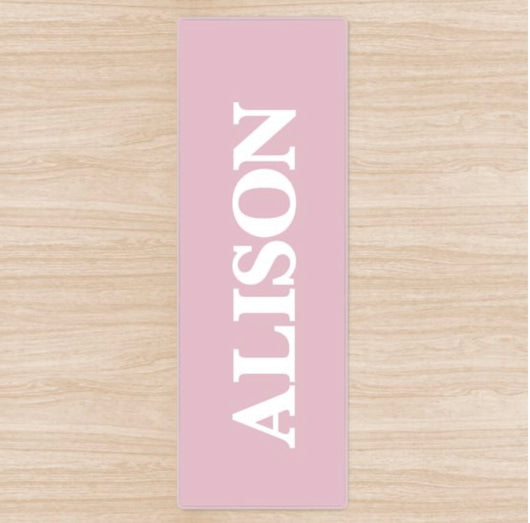 Personalised Yoga Mat Pink with White Name or Initials