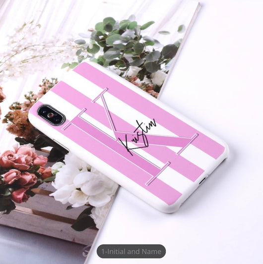 Super Slim Leather Case Pale Pink Striped with Large Initial and Full Name