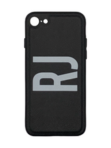 Midnight Black Personalised Saffiano Leather Phone Case with Contrasting Bumper