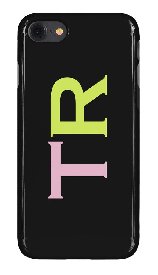 Gloss Black with Pink and Lime Green Initials