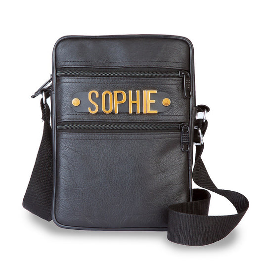 Personalised Leather Crossbody Bag with Leather Holding Strap and Metal Letter Personalisation
