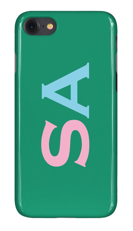 Gloss Green with Pink and Sky Blue Initials