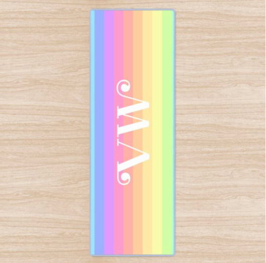 Personalised Yoga Mat Rainbow Design with Funky Font Side Initials