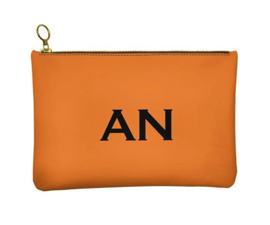 Personalised Genuine Nappa Leather Clutch - Cosmetic Bag in Orange