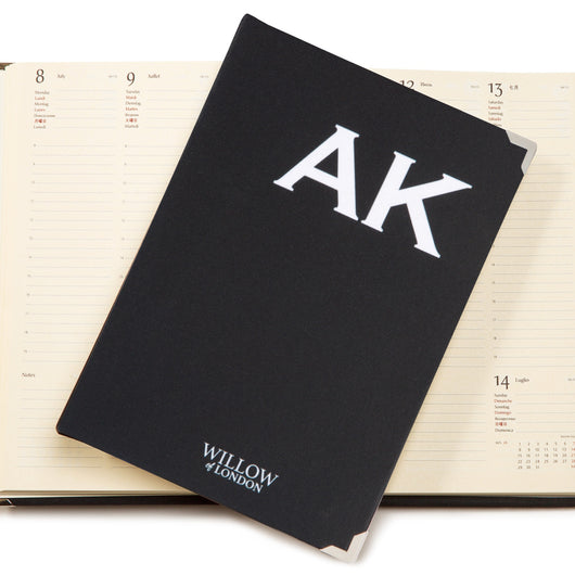 Personalised 2019 Diary Black with White Initials Handbound in London