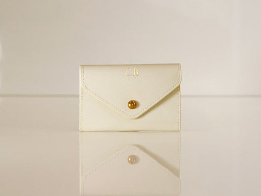 Initialled Leather Card Case Ivory